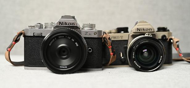 Nikon Z fc рядом с Nikon FM2/T