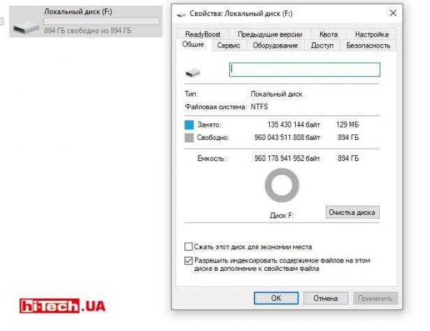 Объем свободного пространства пустого диска в Windows 10